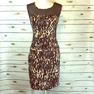 Leopard print tiered body con dress